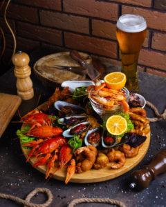 Bière et fruits de mer
